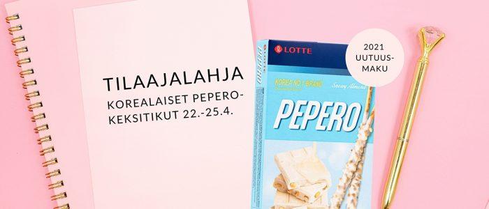 Pepero-keksitikut kaupan päälle tilaukseesi